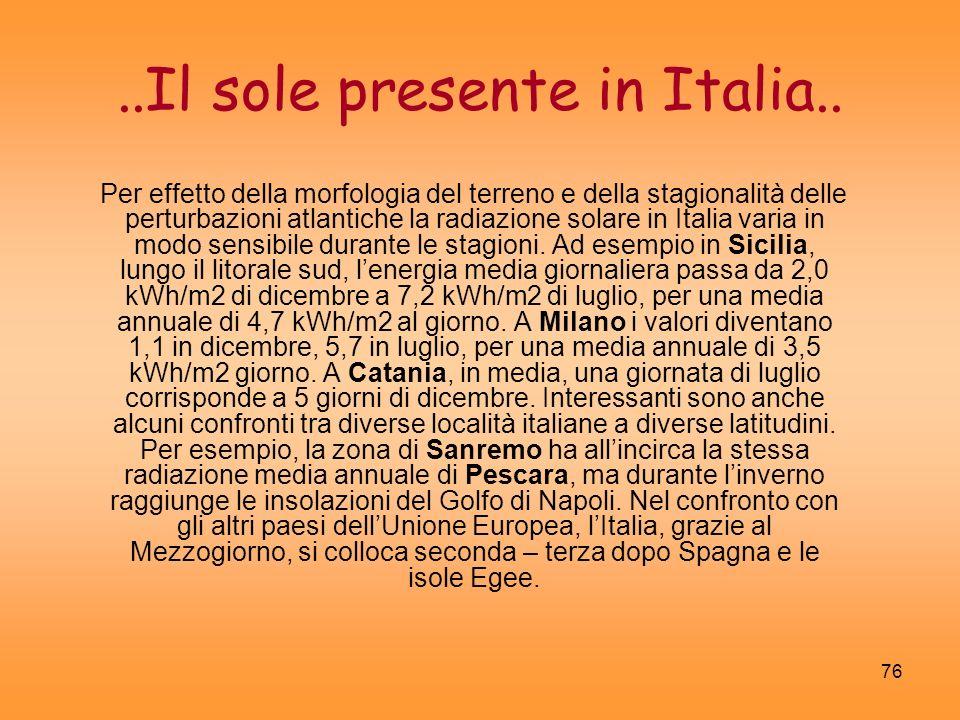 ..Il sole presente in Italia..