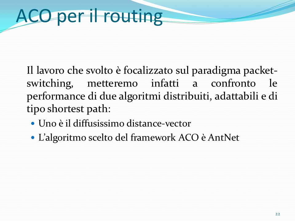 ACO per il routing