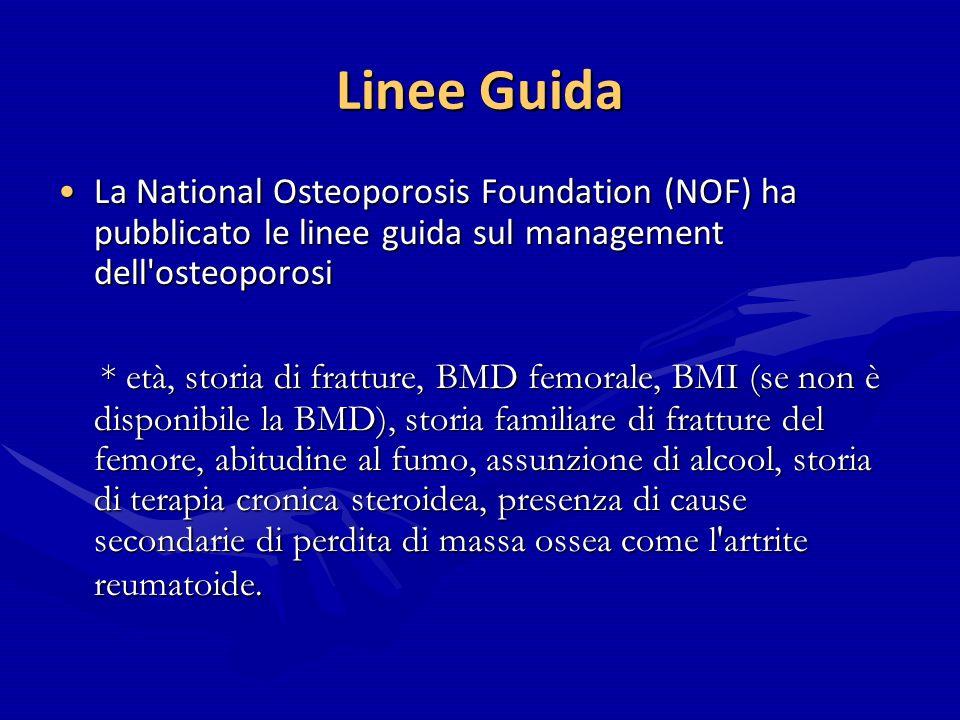 Linee Guida La National Osteoporosis Foundation (NOF) ha pubblicato le linee guida sul management dell osteoporosi.