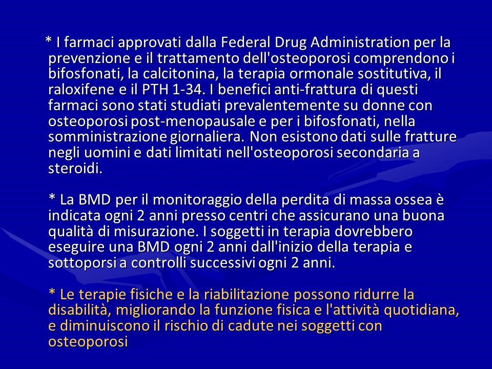 * I farmaci approvati dalla Federal Drug Administration per la prevenzione e il trattamento dell osteoporosi comprendono i bifosfonati, la calcitonina, la terapia ormonale sostitutiva, il raloxifene e il PTH 1-34.