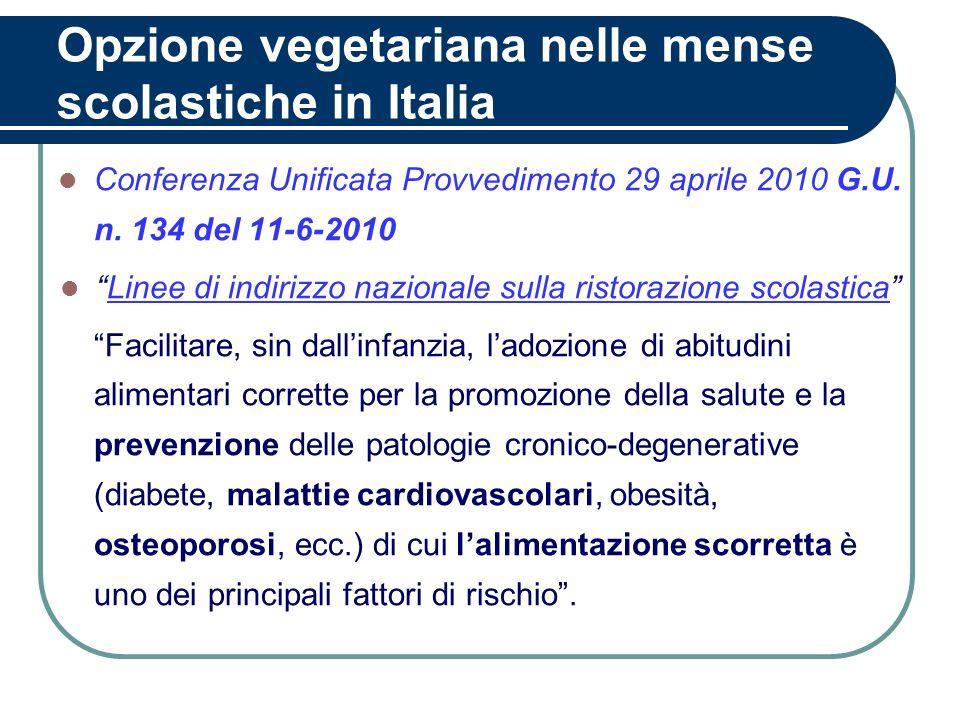 Opzione vegetariana nelle mense scolastiche in Italia