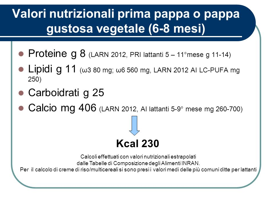 Valori nutrizionali prima pappa o pappa gustosa vegetale (6-8 mesi)
