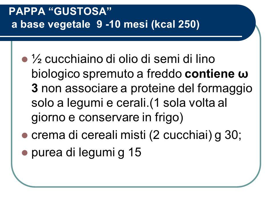 PAPPA GUSTOSA a base vegetale 9 -10 mesi (kcal 250)