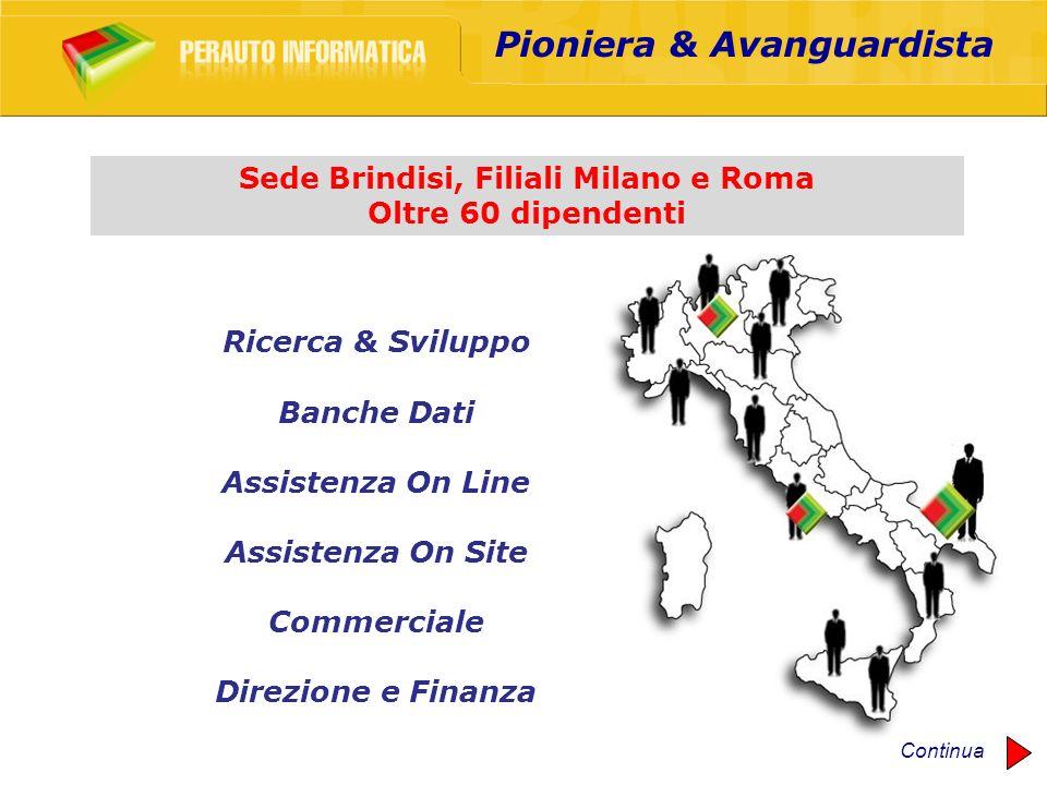 Pioniera & Avanguardista Sede Brindisi, Filiali Milano e Roma