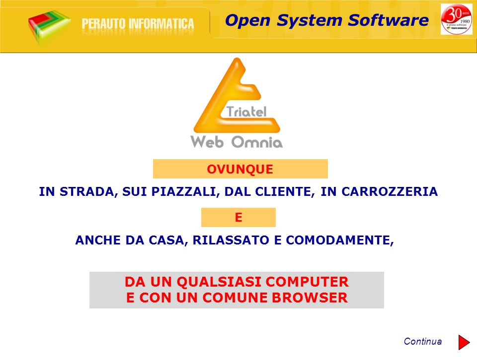 Open System Software DA UN QUALSIASI COMPUTER E CON UN COMUNE BROWSER