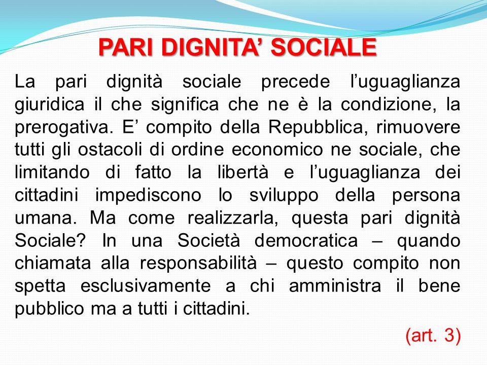 PARI DIGNITA' SOCIALE