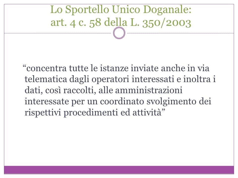 Lo Sportello Unico Doganale: art. 4 c. 58 della L. 350/2003