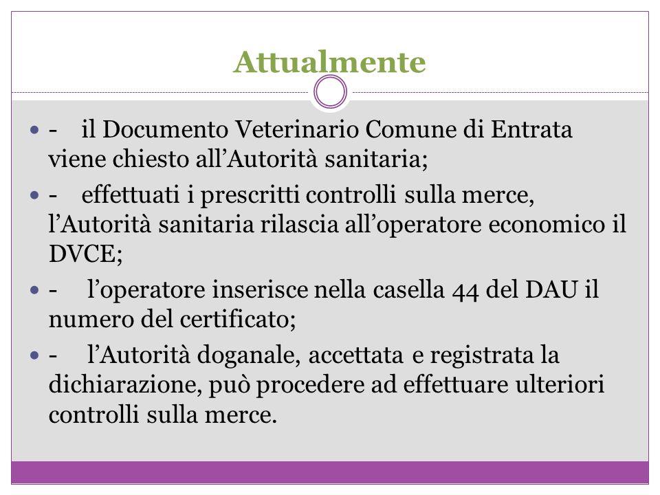 Attualmente - il Documento Veterinario Comune di Entrata viene chiesto all'Autorità sanitaria;