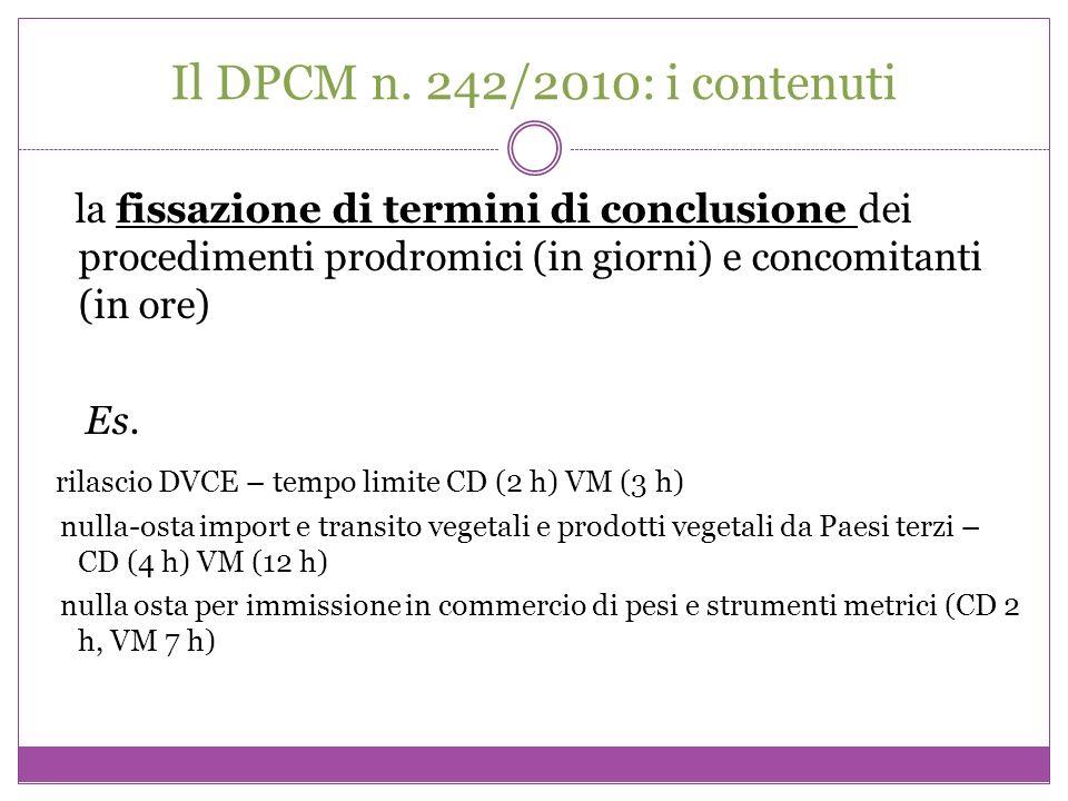 Il DPCM n. 242/2010: i contenuti la fissazione di termini di conclusione dei procedimenti prodromici (in giorni) e concomitanti (in ore)