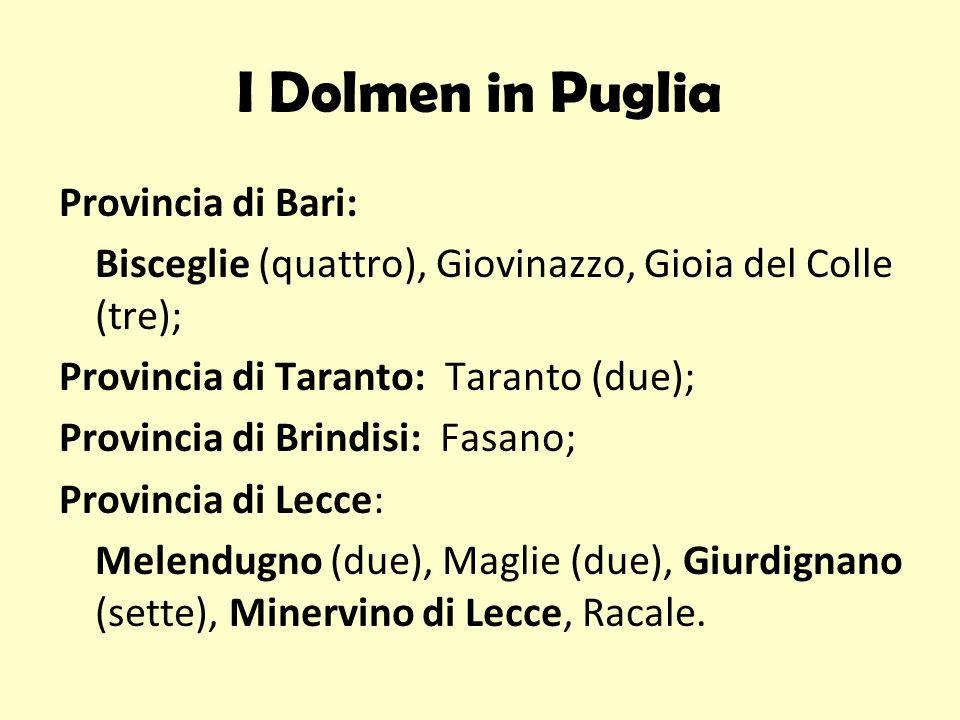 I Dolmen in Puglia Provincia di Bari: