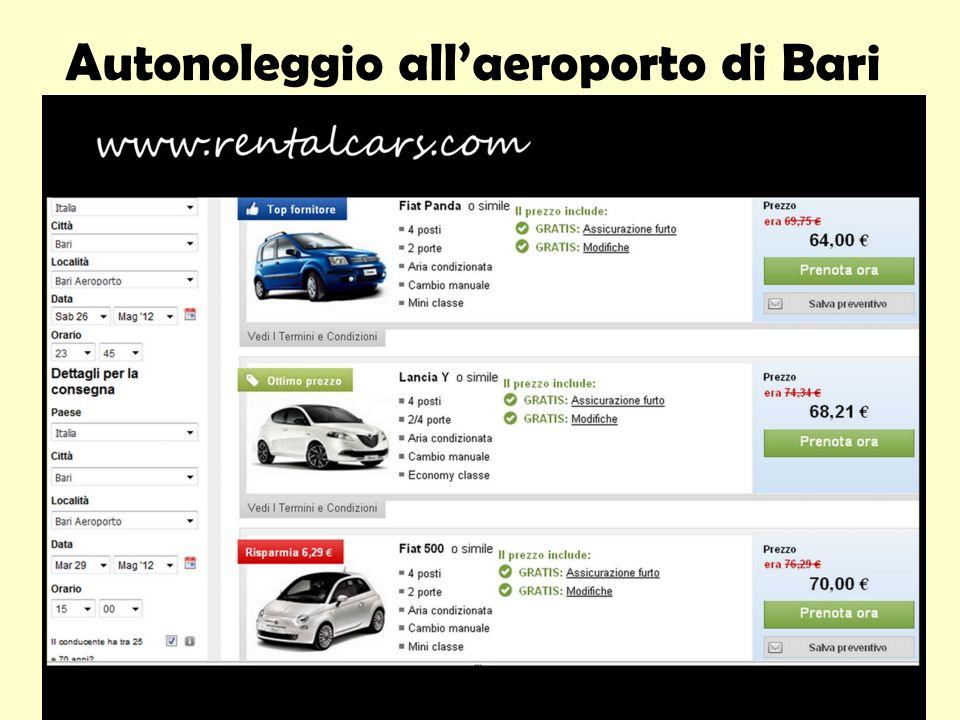 Autonoleggio all'aeroporto di Bari