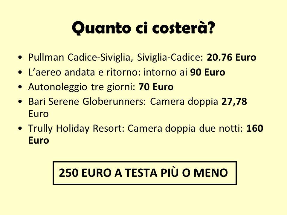 Quanto ci costerà 250 EURO A TESTA PIÙ O MENO