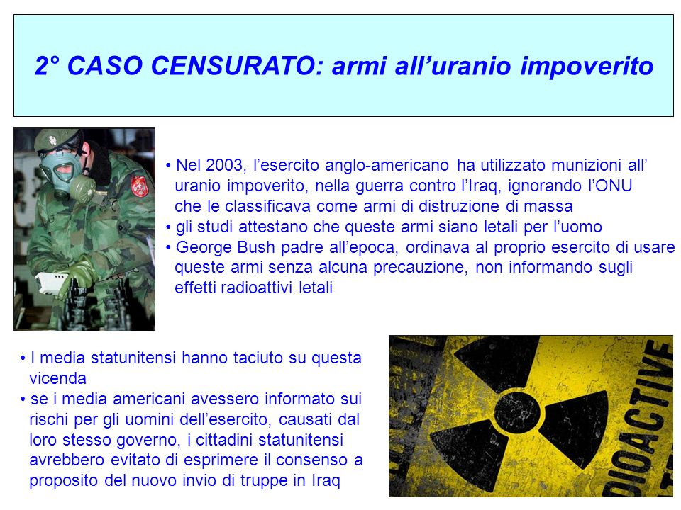 2° CASO CENSURATO: armi all'uranio impoverito
