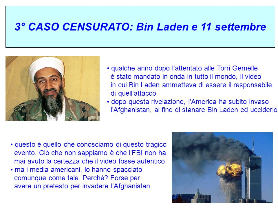 3° CASO CENSURATO: Bin Laden e 11 settembre