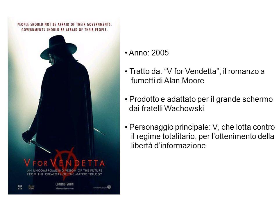 Anno: 2005 Tratto da: V for Vendetta , il romanzo a. fumetti di Alan Moore. Prodotto e adattato per il grande schermo.