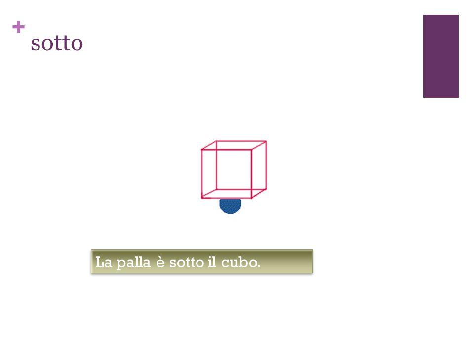 sotto La palla è sotto il cubo.