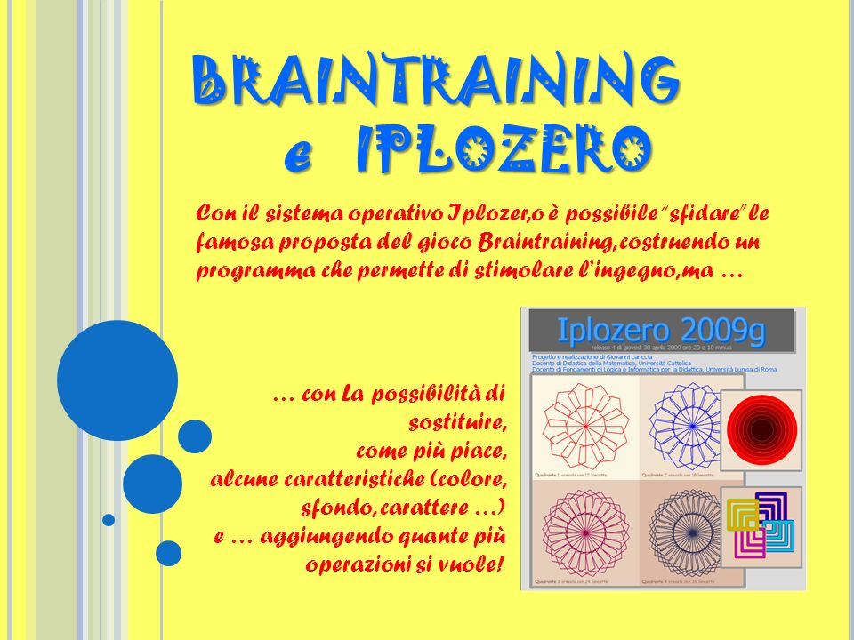 BRAINTRAINING e IPLOZERO