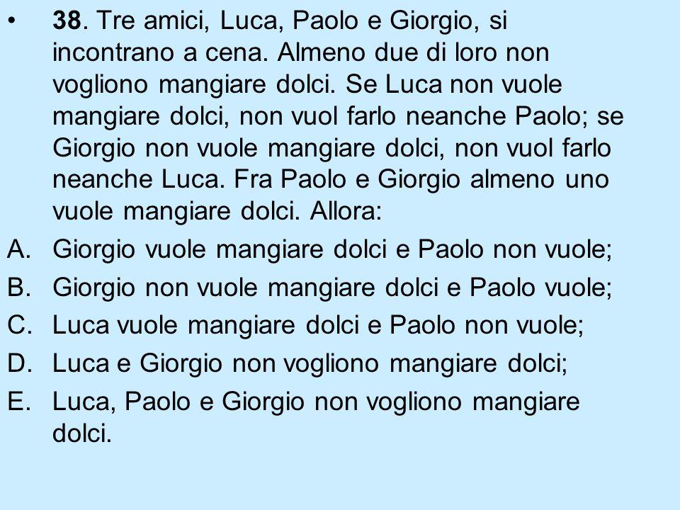38. Tre amici, Luca, Paolo e Giorgio, si incontrano a cena