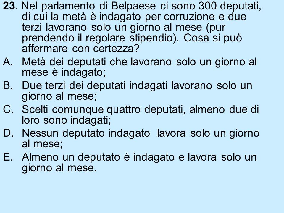 23. Nel parlamento di Belpaese ci sono 300 deputati, di cui la metà è indagato per corruzione e due terzi lavorano solo un giorno al mese (pur prendendo il regolare stipendio). Cosa si può affermare con certezza