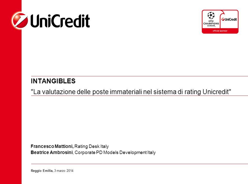 INTANGIBLES La valutazione delle poste immateriali nel sistema di rating Unicredit Francesco Mattioni, Rating Desk Italy.