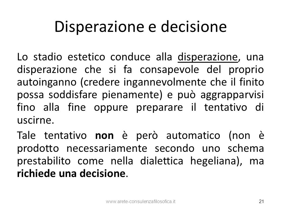 Disperazione e decisione