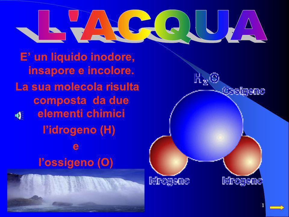 L ACQUA E' un liquido inodore, insapore e incolore.
