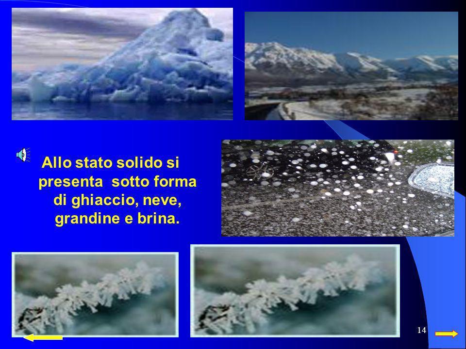 Allo stato solido si presenta sotto forma di ghiaccio, neve, grandine e brina.