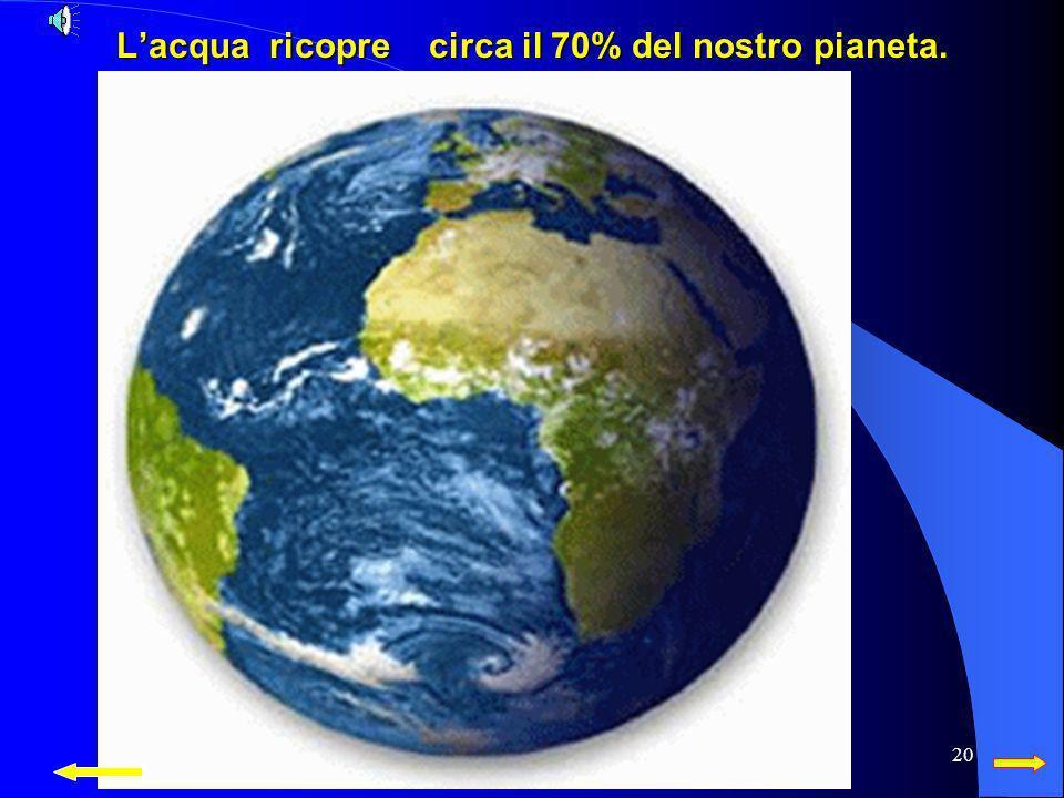 L'acqua ricopre circa il 70% del nostro pianeta.