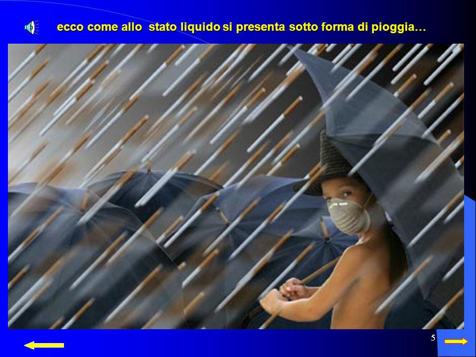 ecco come allo stato liquido si presenta sotto forma di pioggia…