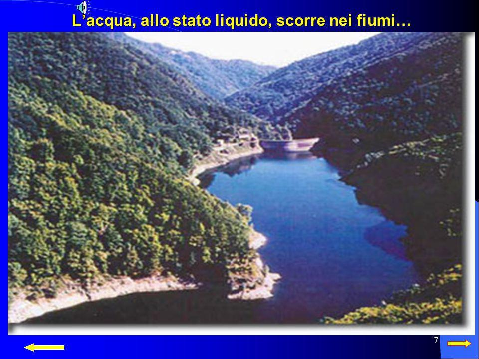 L'acqua, allo stato liquido, scorre nei fiumi…