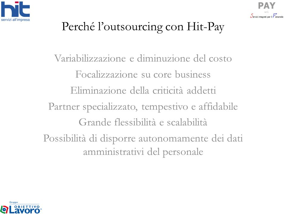 Perché l'outsourcing con Hit-Pay