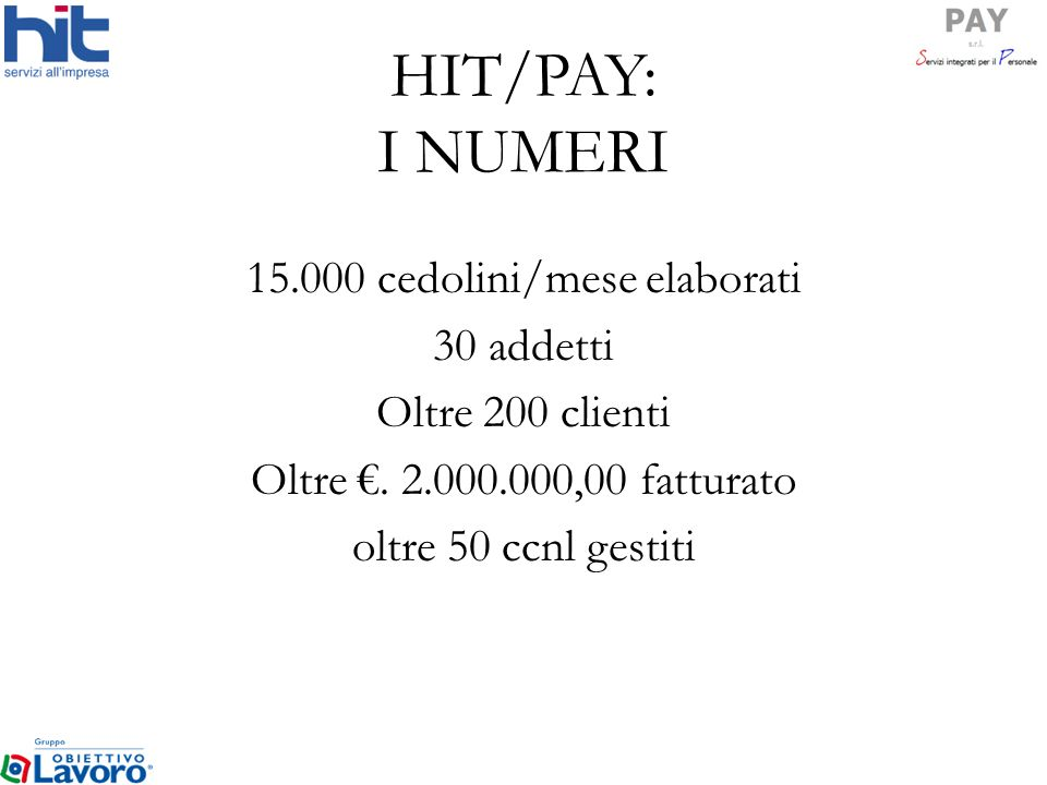 15.000 cedolini/mese elaborati