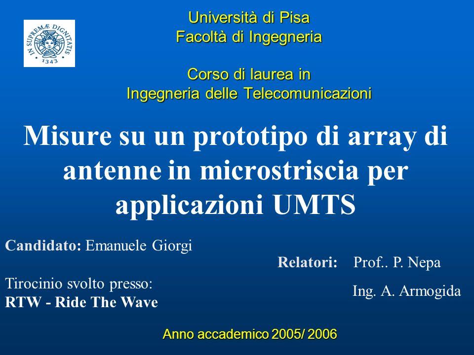 Università di Pisa Facoltà di Ingegneria Corso di laurea in Ingegneria delle Telecomunicazioni