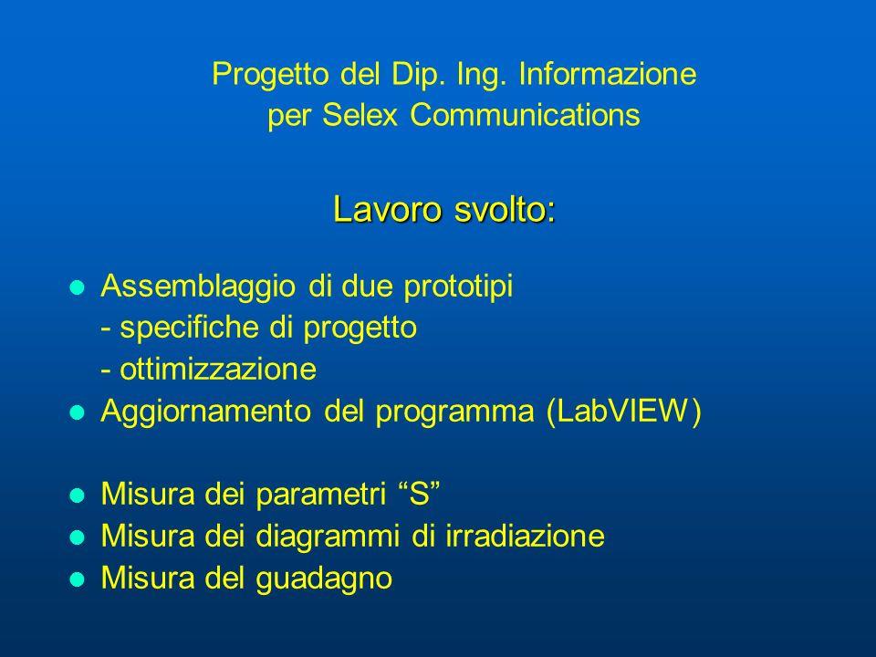 Lavoro svolto: Progetto del Dip. Ing. Informazione