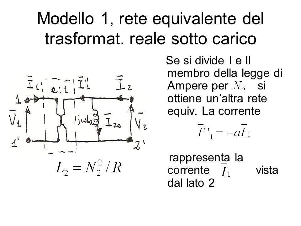 Modello 1, rete equivalente del trasformat. reale sotto carico