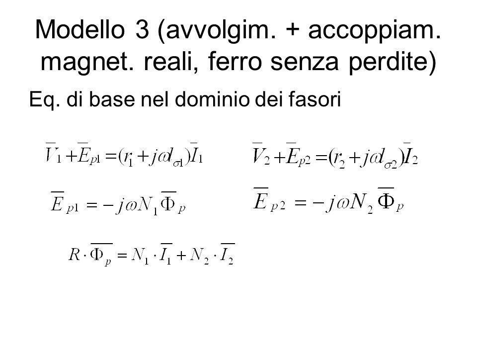 Modello 3 (avvolgim. + accoppiam. magnet. reali, ferro senza perdite)