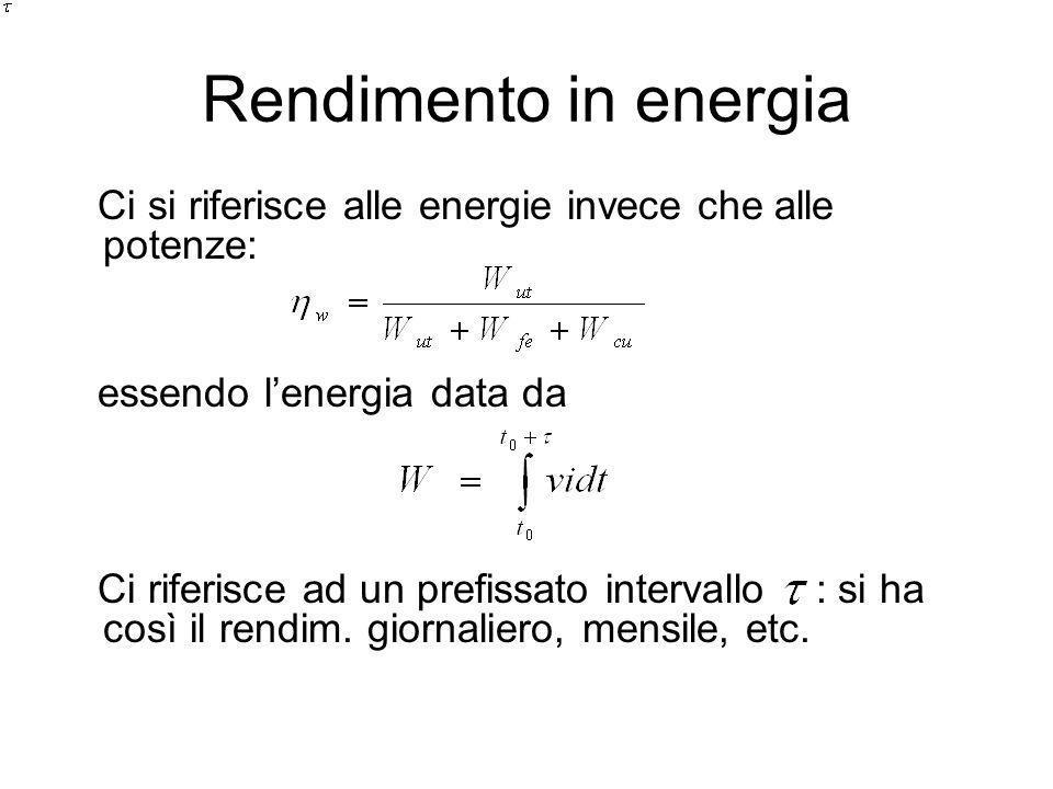 Rendimento in energia Ci si riferisce alle energie invece che alle potenze: essendo l'energia data da.