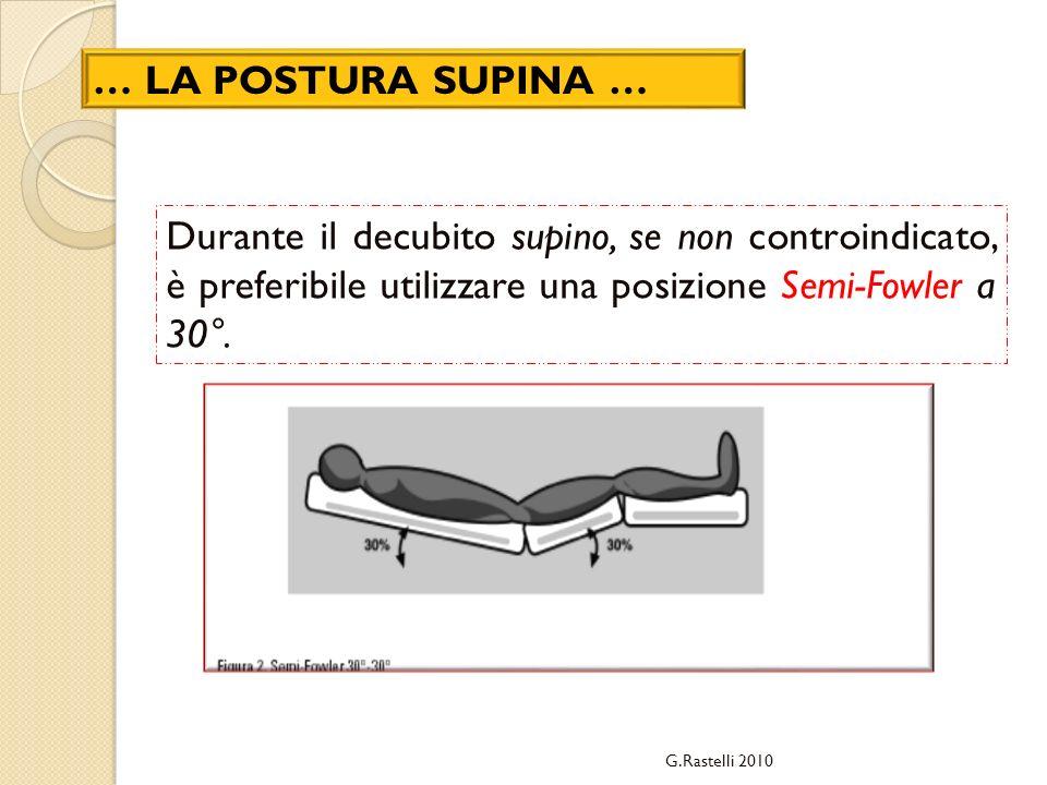 … LA POSTURA SUPINA … Durante il decubito supino, se non controindicato, è preferibile utilizzare una posizione Semi-Fowler a 30°.