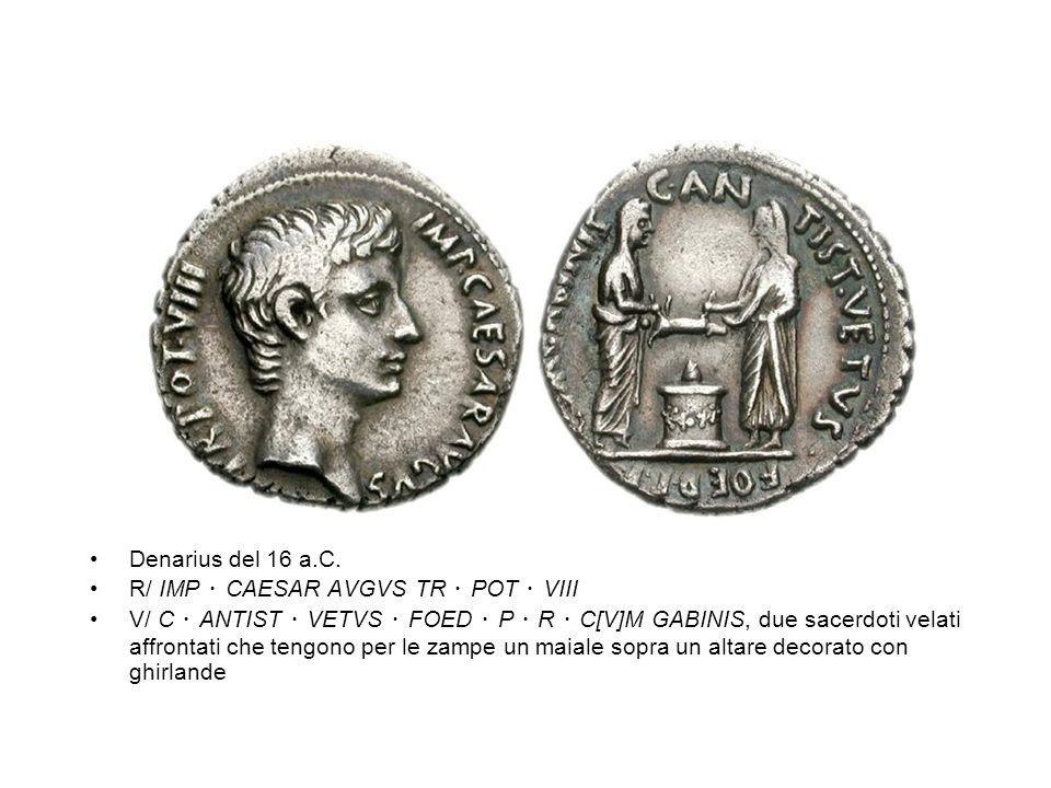 Denarius del 16 a.C. R/ IMP ・ CAESAR AVGVS TR ・ POT ・ VIII.