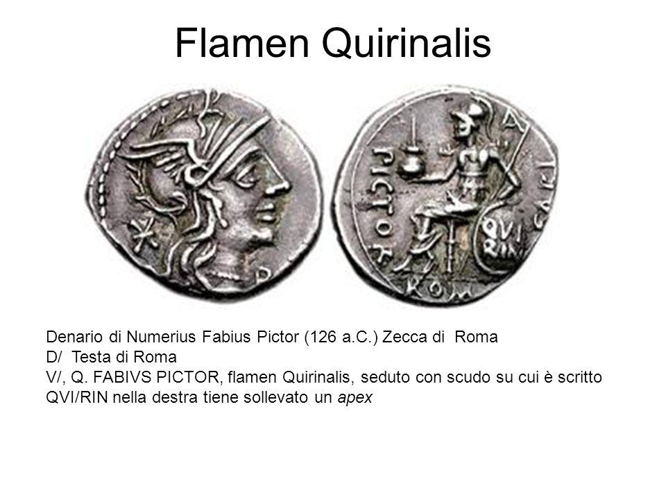 Flamen Quirinalis Denario di Numerius Fabius Pictor (126 a.C.) Zecca di Roma. D/ Testa di Roma.