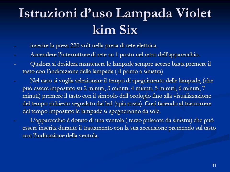 Istruzioni d'uso Lampada Violet kim Six