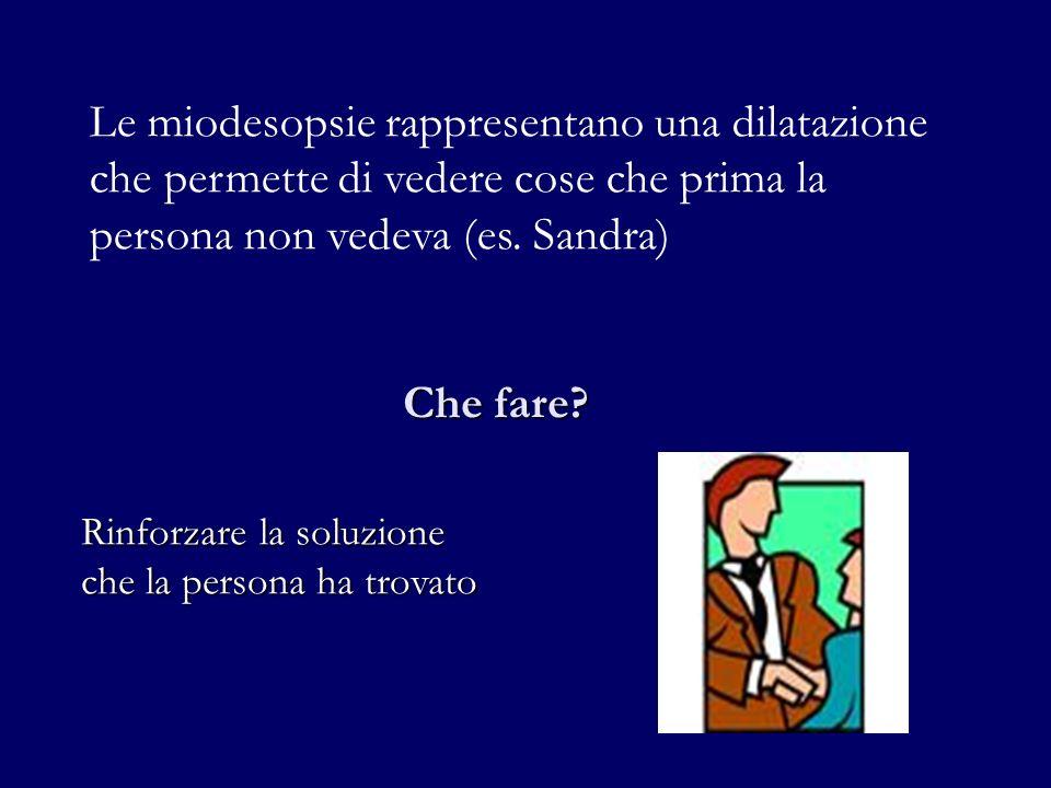 Le miodesopsie rappresentano una dilatazione che permette di vedere cose che prima la persona non vedeva (es. Sandra)