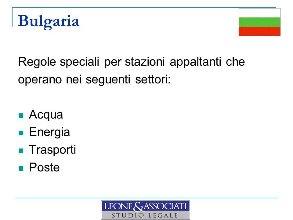Bulgaria Regole speciali per stazioni appaltanti che