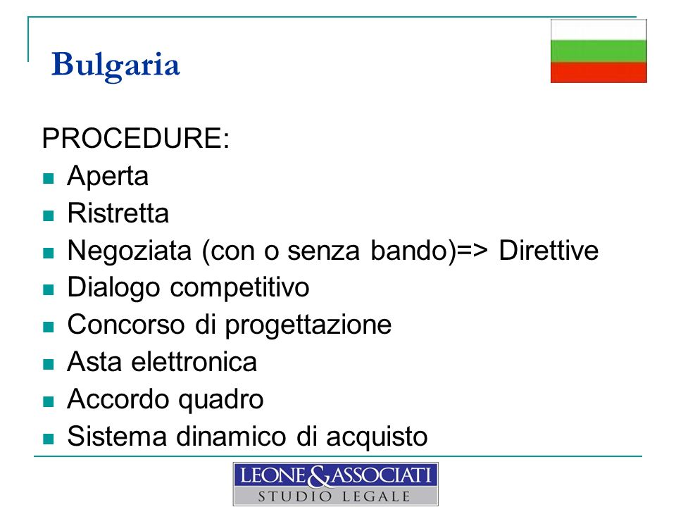 Bulgaria PROCEDURE: Aperta Ristretta