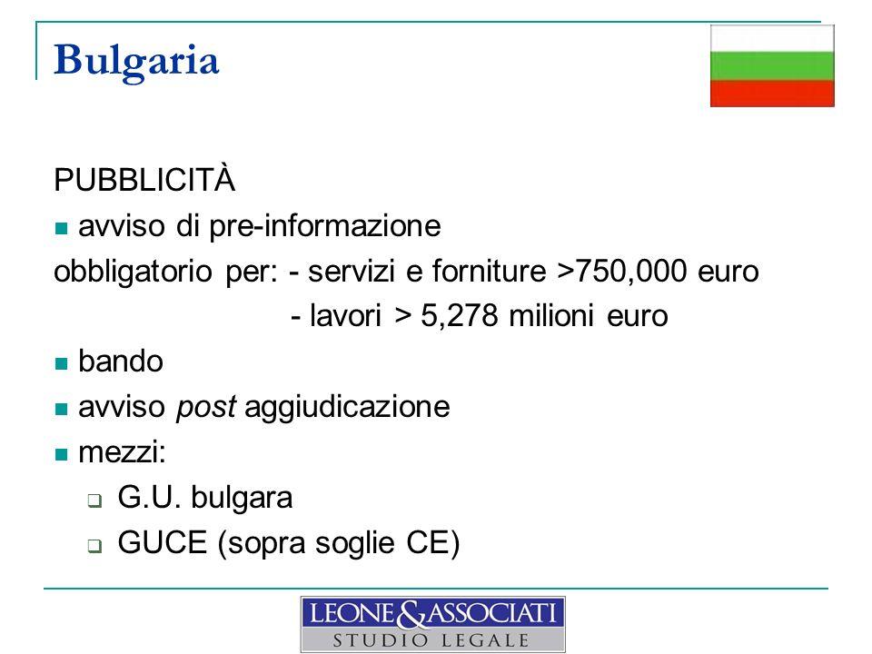 Bulgaria PUBBLICITÀ avviso di pre-informazione