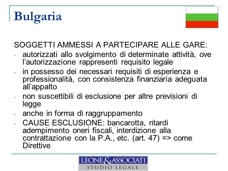 Bulgaria SOGGETTI AMMESSI A PARTECIPARE ALLE GARE: