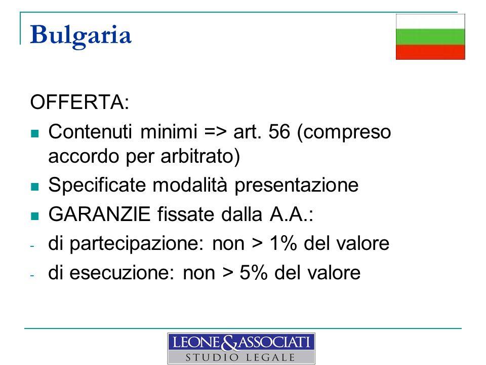 Bulgaria OFFERTA: Contenuti minimi => art. 56 (compreso accordo per arbitrato) Specificate modalità presentazione.