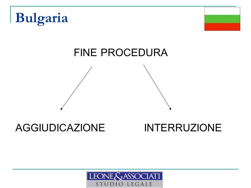 Bulgaria FINE PROCEDURA AGGIUDICAZIONE INTERRUZIONE