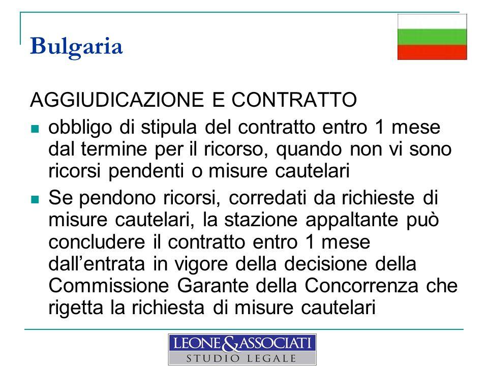 Bulgaria AGGIUDICAZIONE E CONTRATTO