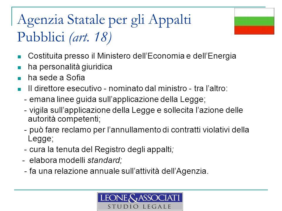 Agenzia Statale per gli Appalti Pubblici (art. 18)